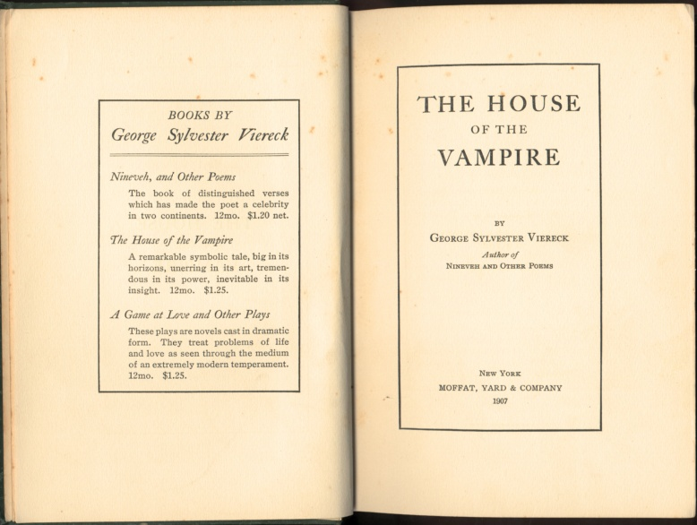 The House of the Vampire Title Page